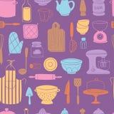 Kitchenware еды утварей кухни варя предпосылку картины установленной отечественной иллюстрации вектора tableware безшовную Стоковые Фото
