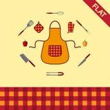 kitchenware Комплект значков и безшовной картины checkered иллюстрация штока