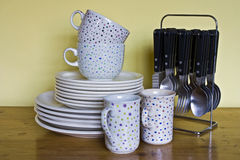 Crockery and cutlery  Royalty Free Stock Photography