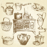 Kitchenware. Utensils - vintage hand drawn collection Royalty Free Stock Photos