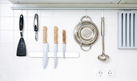 Kitchenware. Modern kitchen at home with kitchenware stock photo