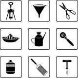 Kitchenware. Objects black and white silhouettes Stock Photography