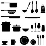 Kitchenware. Set of kitchenware icons isolated on white background Stock Photos