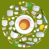 Комплект вектора значков Kitchenware Плита ковша шпателя лотка чашки вилки ножа еды бака ложки собрания утвари кухни шаржа Стоковое фото RF