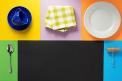 Kitchenware at colorful background Stock Photos