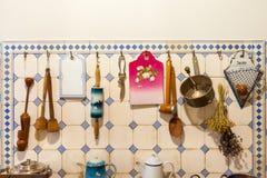 Kitchenware in apartment of Latvian architect Konstantins Pekshens, Riga, Latvia. Stock Photos