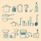 Kitchenware. Appliances and utensils. Stock Images
