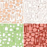 Kitchenware on background with squares - vector seamless patterns. For kitchen Stock Photos