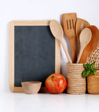 Kitchenware with blackboard Royalty Free Stock Image