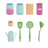 Kitchenware cartoon set with nine objects. Stock Images