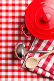 Kitchenware on checkerd tablecloth Royalty Free Stock Photography