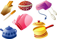 Kitchenware Cliparts. Collection of Kitchen ware Clip arts Stock Images