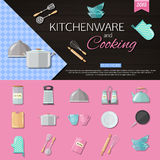 Kitchenware and cooking background with set of Royalty Free Stock Images