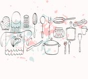 Kitchenware. Cooking Food and  kitchenware. Hand drawn illustration Stock Photo