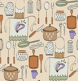 Kitchenware. Cooking Food and  kitchenware. Hand drawn seamless pattern Royalty Free Stock Photos