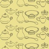 Kitchenware and cooking utensils colorful and fun doodle seamless Royalty Free Stock Images