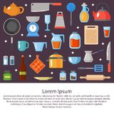 Kitchenware, cookware, kitchen tools collection. Kitchen utensils set. Modern flat icons set, graphic elements, objects Royalty Free Stock Photo