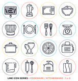 Kitchenware and cookware line icons set Royalty Free Stock Image