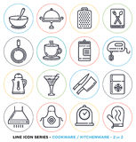 Kitchenware and cookware line icons set Stock Photography