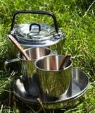 Kitchenware de acampamento Imagens de Stock Royalty Free