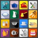 Kitchenware dishes icons set, flat style Royalty Free Stock Image