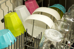 Kitchenware in the dishwasher Royalty Free Stock Images