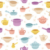 Kitchenware doodle decorated colorful seamless pattern Stock Photo