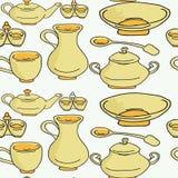 Kitchenware e utensílios de cozimento coloridos e garatuja do divertimento sem emenda Imagem de Stock Royalty Free
