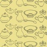 Kitchenware e utensílios de cozimento coloridos e garatuja do divertimento sem emenda Imagens de Stock Royalty Free