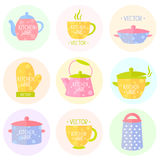 Kitchenware flat collection Royalty Free Stock Images