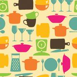 Kitchenware flat color design silhouette vector seamless pattern Royalty Free Stock Photography