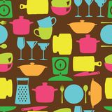 Kitchenware flat color design silhouette vector seamless pattern Stock Photos
