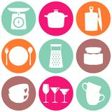 Kitchenware flat design silhouette icons vector collection Stock Photo
