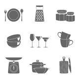 Kitchenware flat design silhouette icons vector collection Royalty Free Stock Images