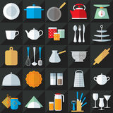 Kitchenware flat icons vector set Stock Photos