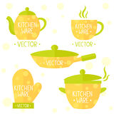 Kitchenware flat set. Illustration set of simple flat kitchenware in polka dots Royalty Free Stock Images