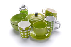 Kitchenware in green porcelain Stock Photo