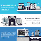 Kitchenware Horizontal Banners Set. Kitchenware set of horizontal banners with pans, microwave, food processor, blender, toaster, slow cooker  vector Royalty Free Stock Photography