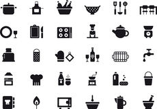 Kitchenware icon set. Black and white set of glyph flat icons relating to kitchenware royalty free stock photography