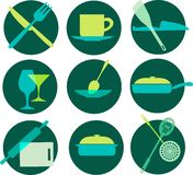 Kitchenware icon set on green Royalty Free Stock Photos