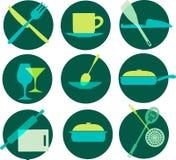 Kitchenware icon set on green Royalty Free Stock Photos