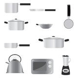 Kitchenware. Icon set illustration isolated on white Royalty Free Stock Photography