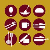 Kitchenware icon set on yellow Stock Photography