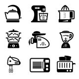Kitchenware icons. Set vector black icons of kitchenware and kitchen tools Royalty Free Stock Image