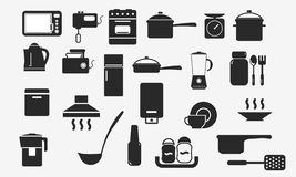 Kitchenware icons household appliances web Royalty Free Stock Photo