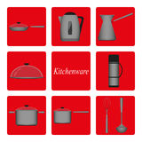 Kitchenware. Icons metal pans, pots, kettle, bucket, thermos, Turk for coffee, a ladle, a whisk on a red background stock photography