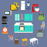 Kitchenware Icons Set. On the blue background. Vector illustration Royalty Free Stock Images