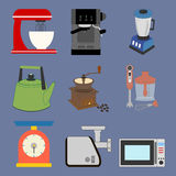 Kitchenware Icons Set. On the blue background. Vector illustration Royalty Free Stock Image