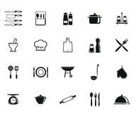 Kitchenware icons. Kitchenware set of vector black icon on white background Stock Images