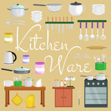 Kitchenware icons vector set.Cartoon kitchen utensil collection for kitchen household cutlery, cooking equipment Royalty Free Stock Images